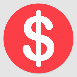White dollar sign on red background stickers