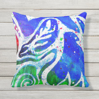 White Doodle Abstract Throw Pillow