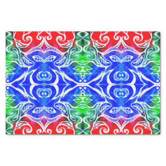 White Doodle Abstract Tissue Paper | Red Blue