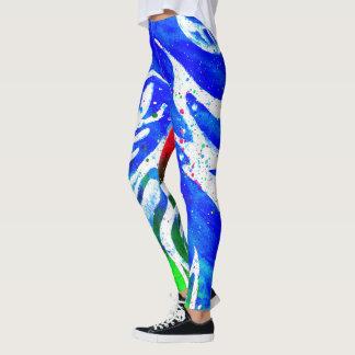White Doodle Blue Green Hippy Leggings