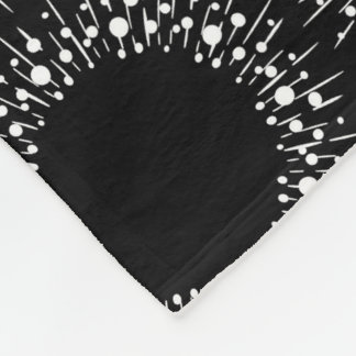 White Dots And Lines On Black Fleece Blanket