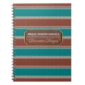 White Dots inline Decorative Blue Brown Notebook