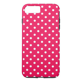 White Dots on Deep Pink iPhone 8 Plus/7 Plus Case