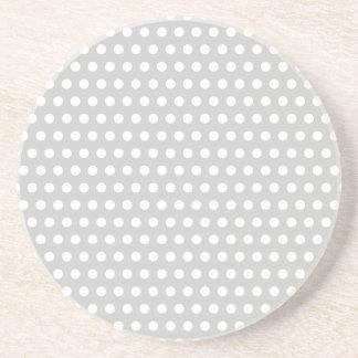 White Dots on Light Grey Coaster