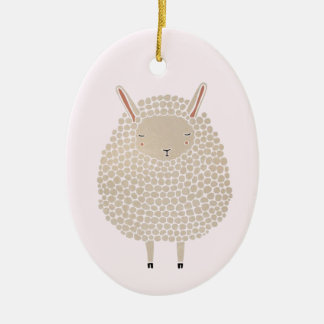 White Dots Round Sleeping Sheep Ceramic Ornament