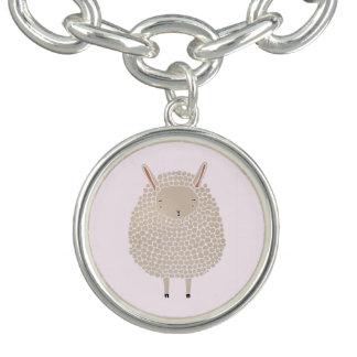 White Dots Round Sleeping Sheep Charm Bracelet