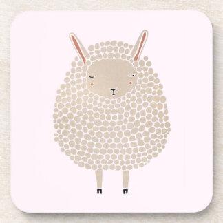 White Dots Round Sleeping Sheep Coaster