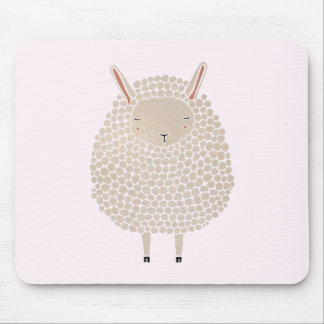 White Dots Round Sleeping Sheep Mouse Pad
