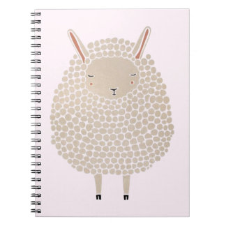 White Dots Round Sleeping Sheep Notebook