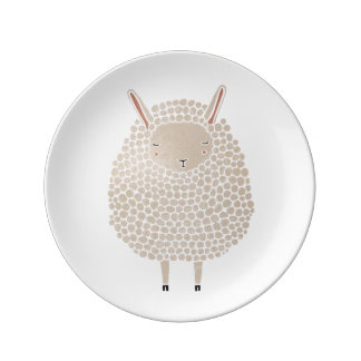 White Dots Round Sleeping Sheep Plate
