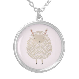 White Dots Round Sleeping Sheep Silver Plated Necklace