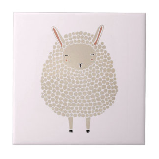 White Dots Round Sleeping Sheep Tile