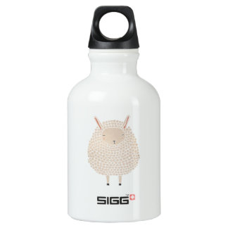 White Dots Round Sleeping Sheep Water Bottle