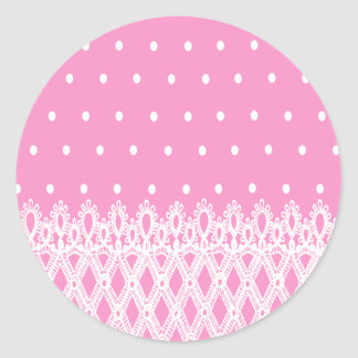 White dots soft pink background white lace pattern classic round sticker