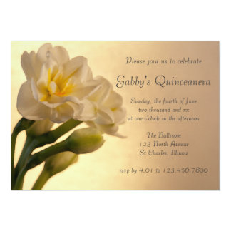White Double Daffodils Quinceanera Invitation