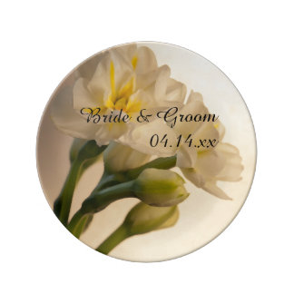 White Double Daffodils Wedding Keepsake Plate