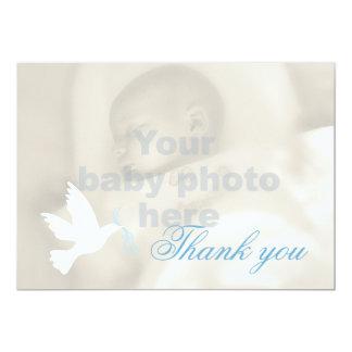 White dove blue boys baptism photo thank you card