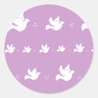 White Dove Design - Customizable Background Color Classic Round Sticker