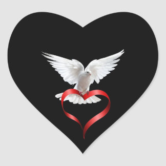 White Dove Heart Sticker