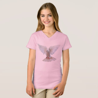 White Dove image Girls'-V-Neck-T-Shirt-Pink T-Shirt