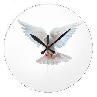 White Dove image Round (Large) Wall Clock