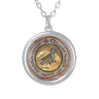 White Dove in a Gold Medallion Silver Plated Necklace