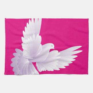 white dove in blue sky 3 kitchen towel