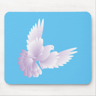 white dove in blue sky 3 mouse pad