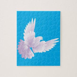 white dove in blue sky 3 puzzle
