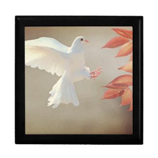 White dove in flight gift box