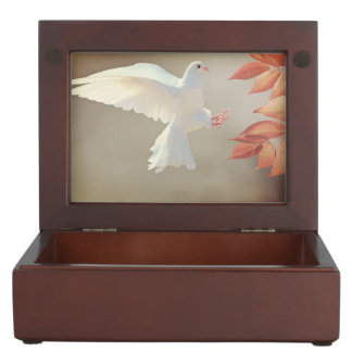 White dove in flight keepsake box