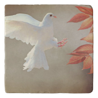 White dove in flight trivet