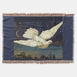 White Dove In Starry Sky Throw Blanket