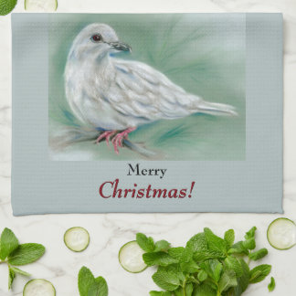 White Dove in the Pine Christmas Hand Towel