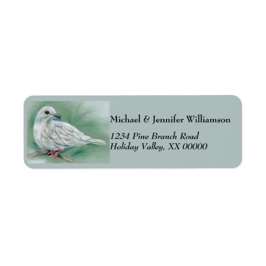 White Dove in the Pine Christmas Return Address Label