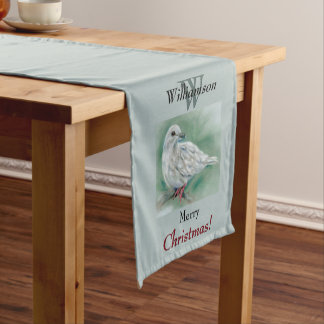 White Dove in the Pine Personalized Christmas Short Table Runner