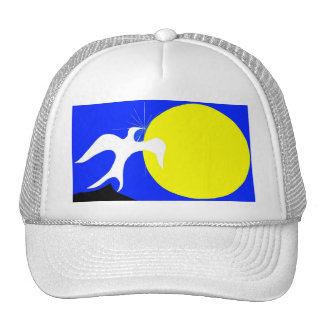 White Dove of Peace and Yellow Sun on Blue Back Trucker Hats