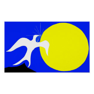White Dove of Peace and Yellow Sun on Blue Back Print
