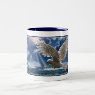 White Dove Of Peace Two-Tone Mug