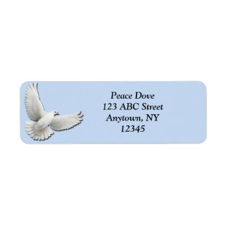 White Dove on Blue Label Return Address Label
