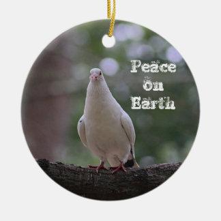 White Dove Round Ceramic Ornament