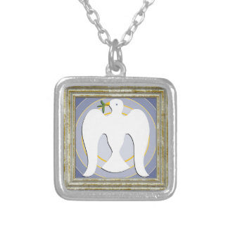 White Dove With Olive Branch Silver Plated Necklace