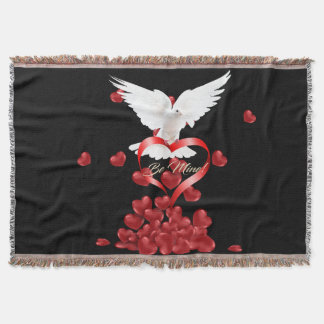White Dove with Red Rose Throw Blanket