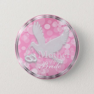 White Dove with Wedding Rings on Pink Satin 2 Inch Round Button