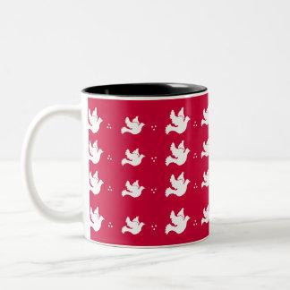 White Doves on Red Background Mug