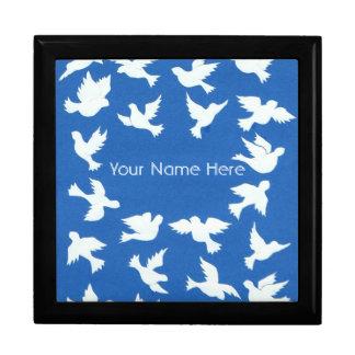 White Doves on Sky Blue Gift Boxes