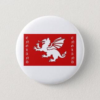 White Dragon England Text 2 Inch Round Button