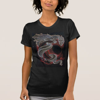 White Dragon, Red Moon on Black T-Shirt