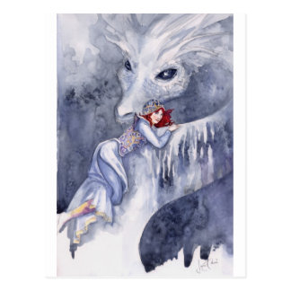 White Dragon Rider Postcard