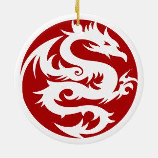 White Dragon Round Ceramic Ornament